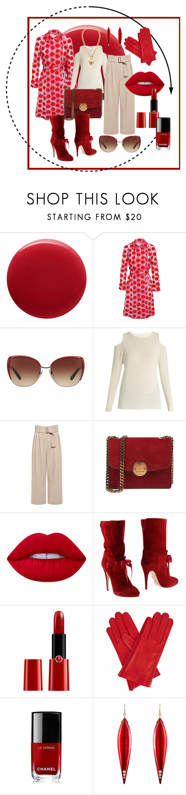 """Red"" by joie64 ❤ liked on Polyvore featuring Oribe, Simone Rocha, Dolce&Gabbana, Velvet by Graham & Spencer, A.L.C., Lime Crime, Casadei, Giorgio Armani, Gizelle Renee and Chanel"