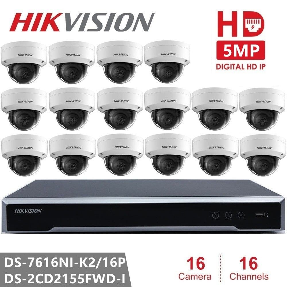 Hikvision Video Surveillance Kit Cctv System 16 Channel Poe Nvr 16pcs 5mp Ip Cameras Dome Outdoor Hd Home Office Security In Surveillance Cameras From Secur Wireless Home Security Home Security