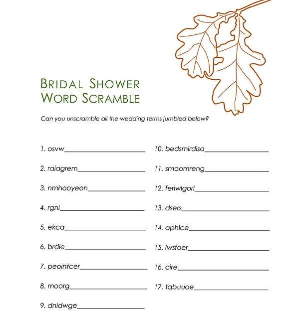 Bridal Shower Word Scramble Template bridal shower word