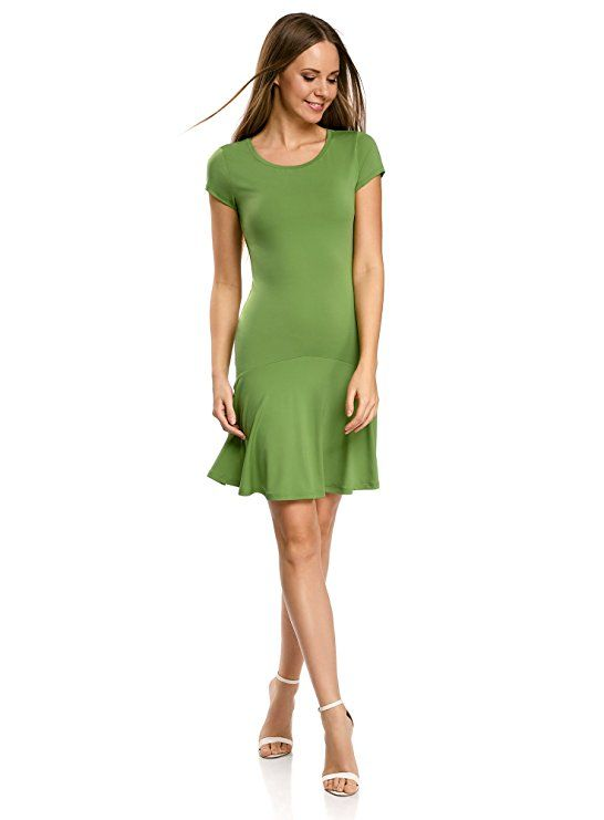 oodji Ultra Damen Jersey-Kleid mit Volants: Amazon.de ...