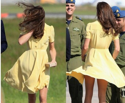 kate middleton yellow dress blows up in the wind