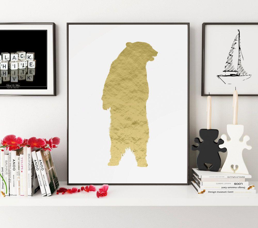 Gold Bear Print, Bear Wall Art, Bear Wall Print, Wall Print, Bear ...