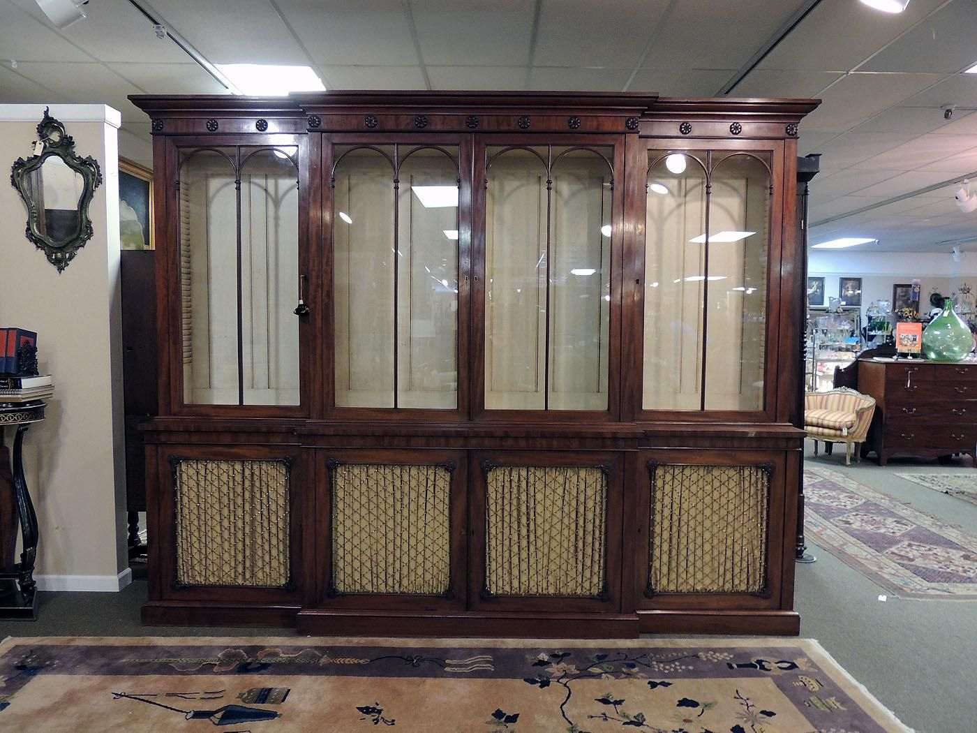 Grand English Mahogany Bookcase | Olde Mobile Antique Gallery