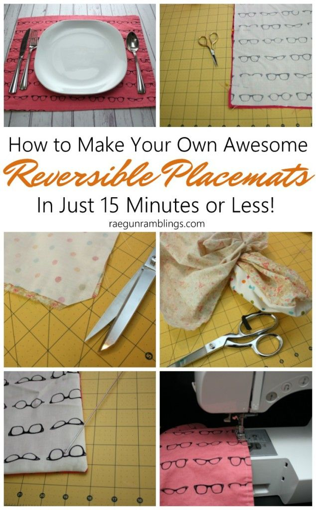 The kids made a bunch of these. Super easy 15 minute DIY reversible placemats sewing tutorial and free pattern