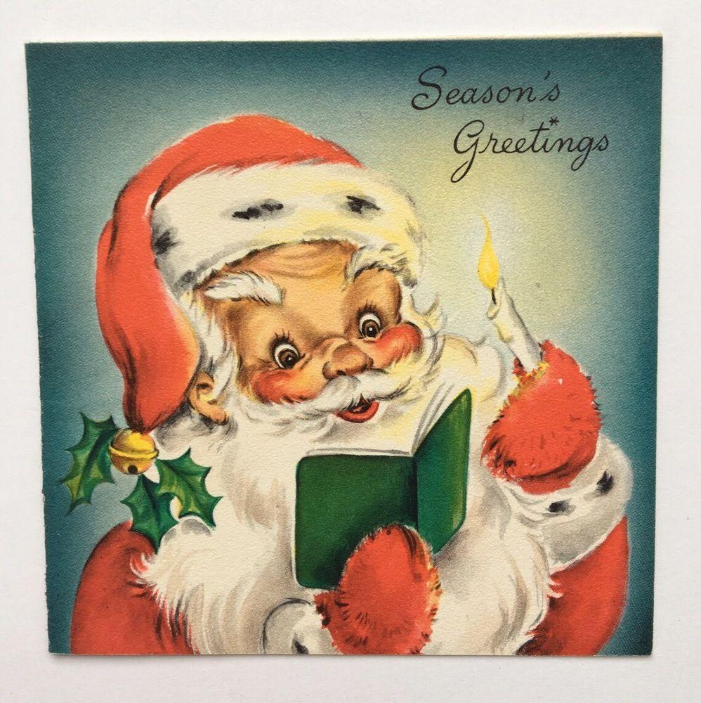 Vintage Hallmark Christmas Card Santa Claus Hat Gold Bell