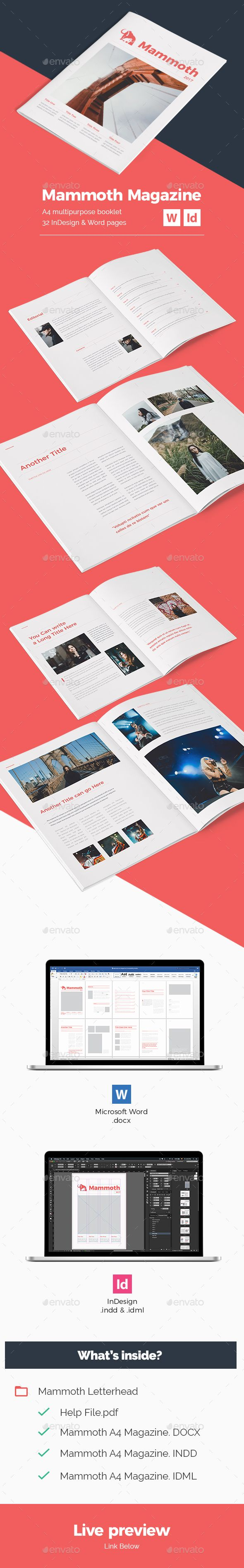 mammoth a4 magazine print templates template and booklet layout