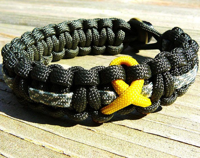 Army Inspired Parachute Cord Bracelet With Support Ribbon With
