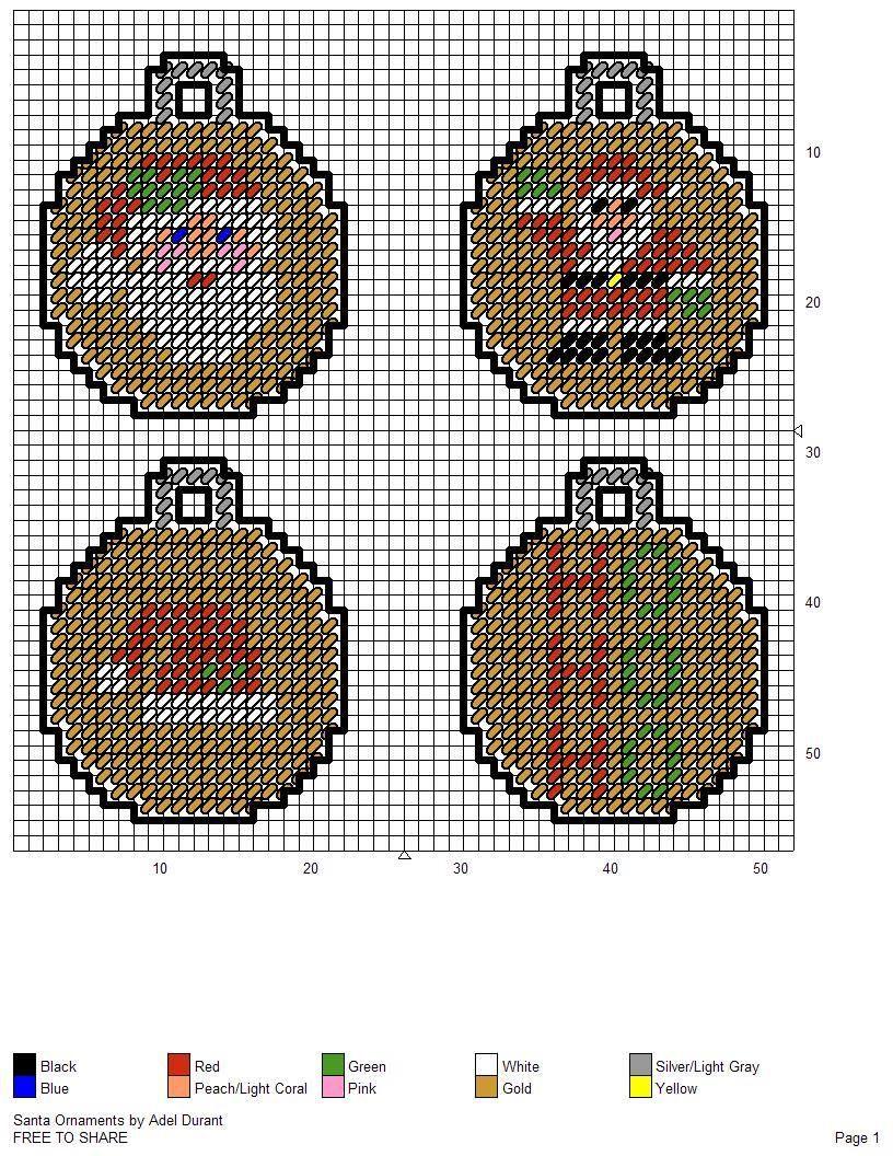 Santa Ornaments By Adel Durant Plastic Canvas Ornaments Plastic Canvas Crafts Plastic Canvas Patterns