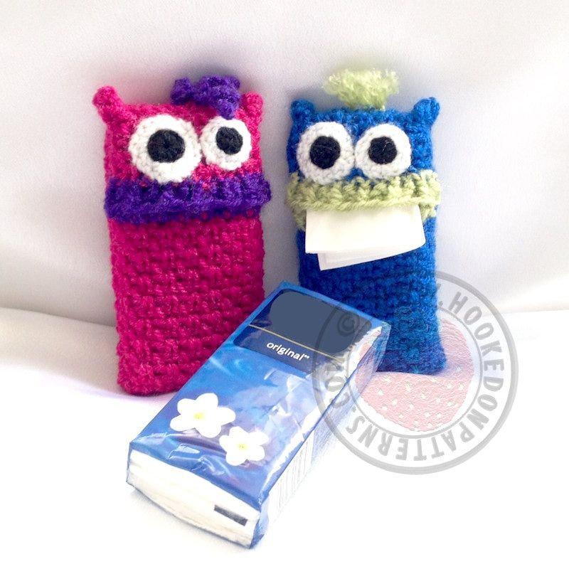 The Tissue Monsters Crochet Pattern from Hooked On Patters. Got a pack of tissues that need an outfit? Crochet these! www.hookedonpatterns.com/tissue-monsters