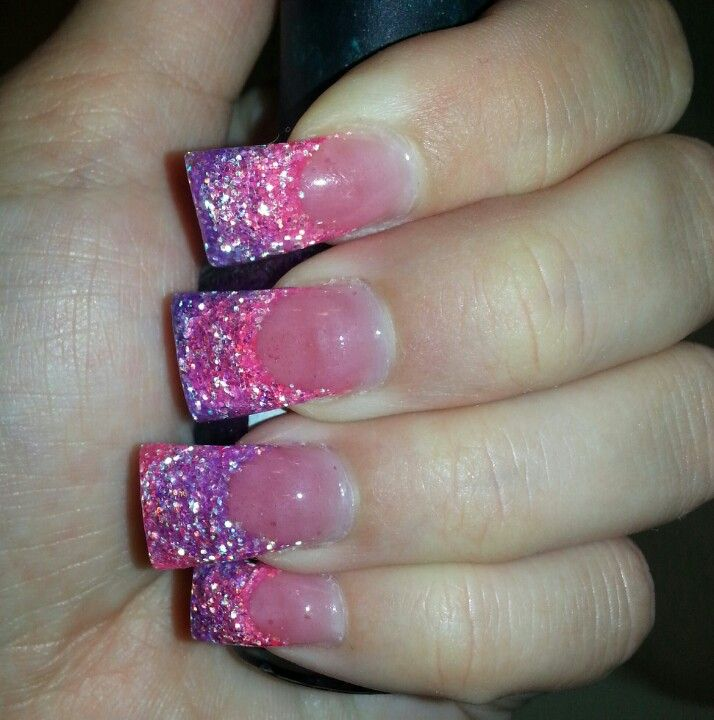 Pink and purple acrylic nails. Flared acrylic nails aren\'t for me ...
