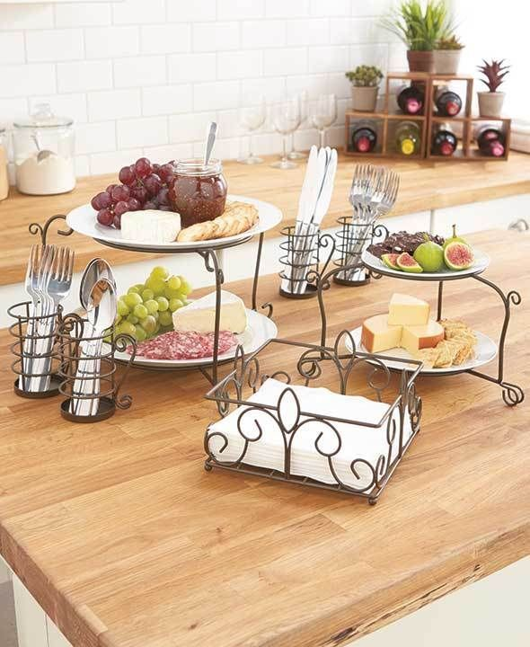 Serving Buffet Caddy Set Bronze Family Meals Holiday Holds Plate Napkins  more - Serving Buffet Caddy Set Bronze Family Meals Holiday Holds Plate