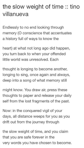 Weight Of Time >> The Slow Weight Of Time Tino Villanueva Poetry Poems Poetry