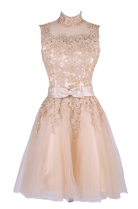 07e272ad8d88 Exquisite A-line High Neck Knee Length Tulle Homecoming Dress with Appliques  TTHC0030
