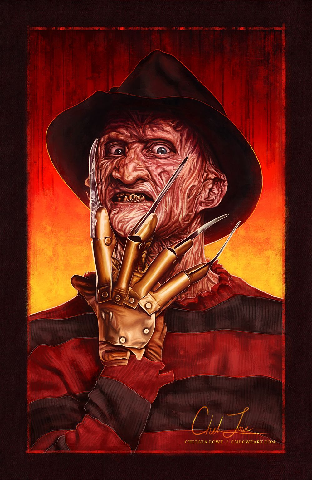 """cmloweart: """"""""Robert Englund as Freddy Krueger in A Nightmare on Elm Street 13 x 20 in - Digital painting """" """""""