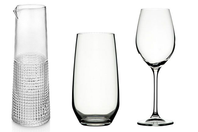 Noritake IVV Speedy clear carafe, handmade in Italy, $116. Vizio Highball glasses made in Italy, $75 for six. Vizio white wine glasses, made in Italy, $40 for two. All gift-boxed, from Noritake. Photo: Supplied
