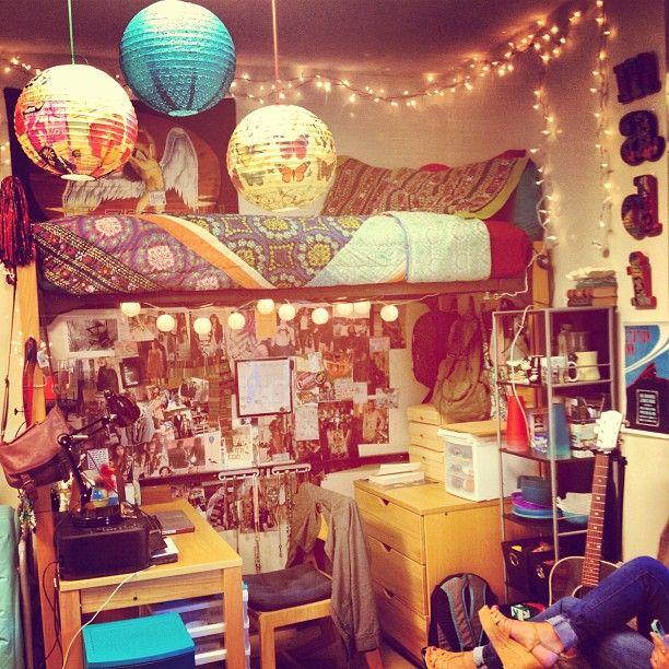Anthropologie College Bedroom    #lights #anthro #lanterns #boho #college #dorm #urban #pattern