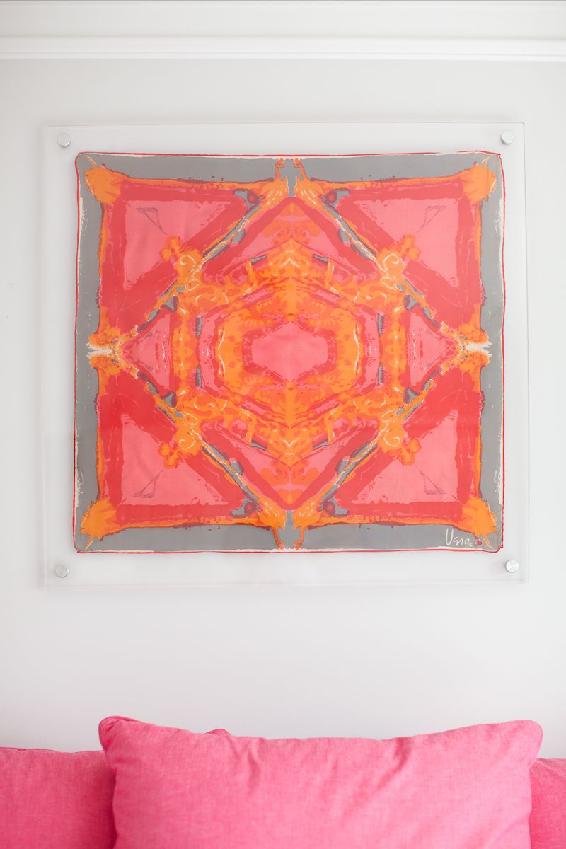 acrylic framed vintage Vera scarf..or you could just tack any great scarf on a wall as a backdrop ... especially in a teenager's room.  The possibilities...