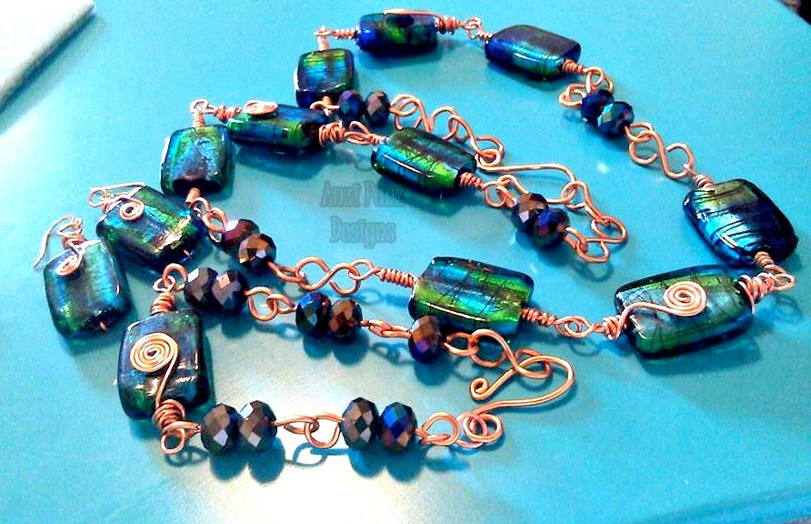 Blue/Green Copper Spiral Jewelry set 2nd full wire wrapped set and 1st time making clasp findings! Still needs fine tuning here or there.