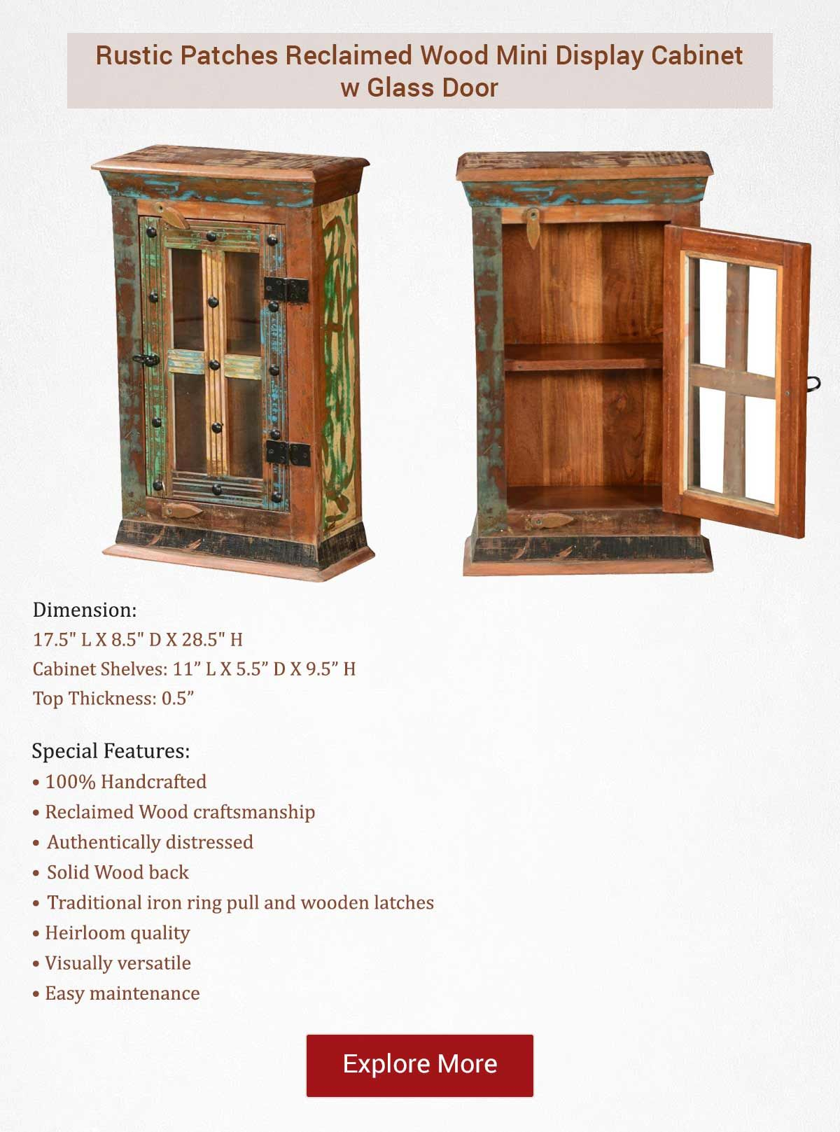 Rustic Patches Reclaimed Wood Mini Display Cabinet W Glass Door Display Cabinet Glass Door Reclaimed Wood Small cabinet with glass door