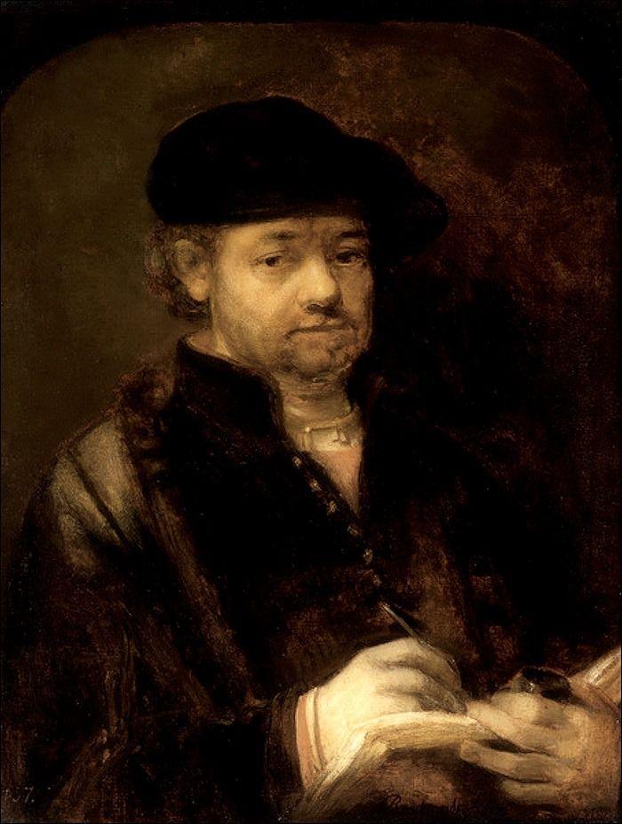 Rembrandt Harmenszoon van Rijn · Autoritratto con quaderno di appunti · 1655-57 · Gemäldegalerie Alte Meister · Dresden