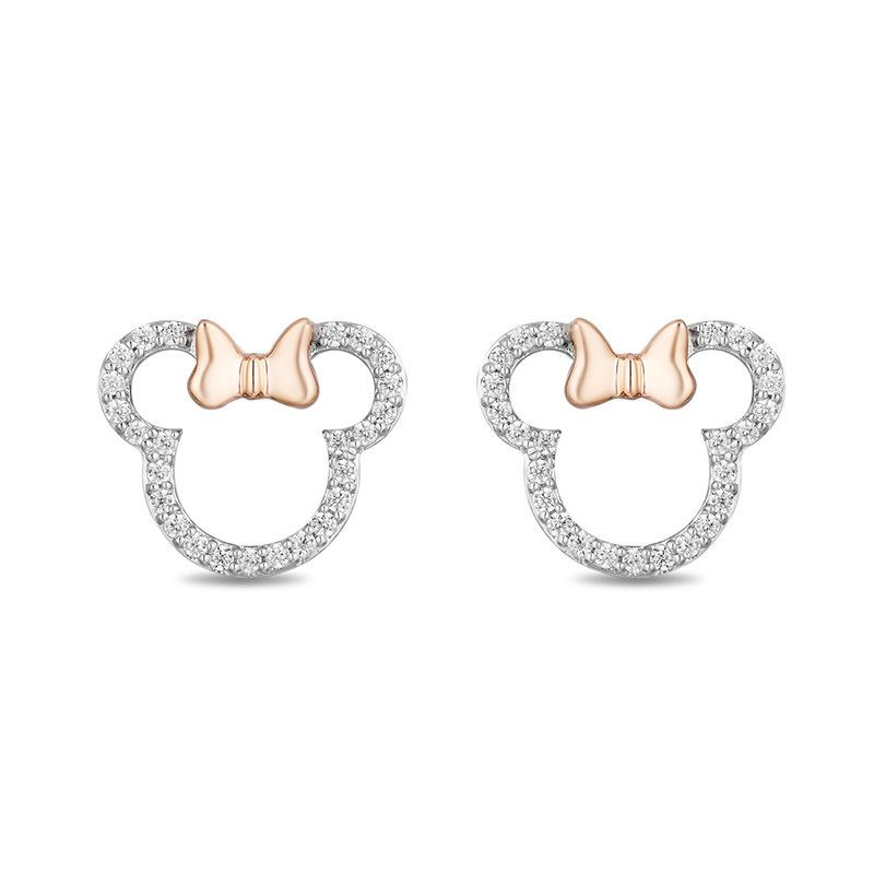 f754d8682 Mickey Mouse & Minnie Mouse 0.18 CT. T.W. Diamond Outline Stud Earrings in  Sterling Silver and 10K Rose Gold