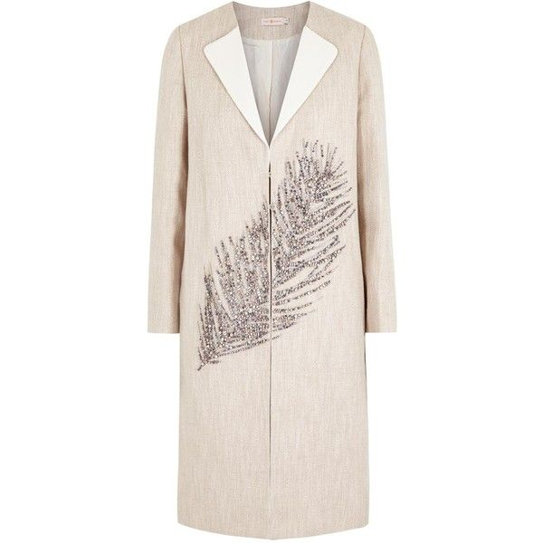 336cda643 Tory Burch Sand Sequinned Feather Linen Blend Coat (710 CHF) ❤ liked on  Polyvore featuring outerwear
