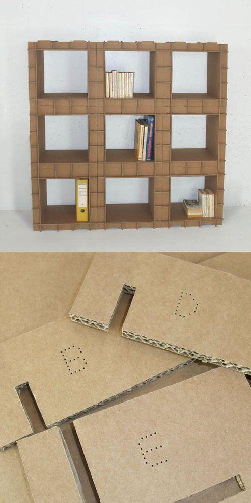 Estanter as con piezas de cart n estanter as cart n y muebles de cart n - Estanteria carton ...