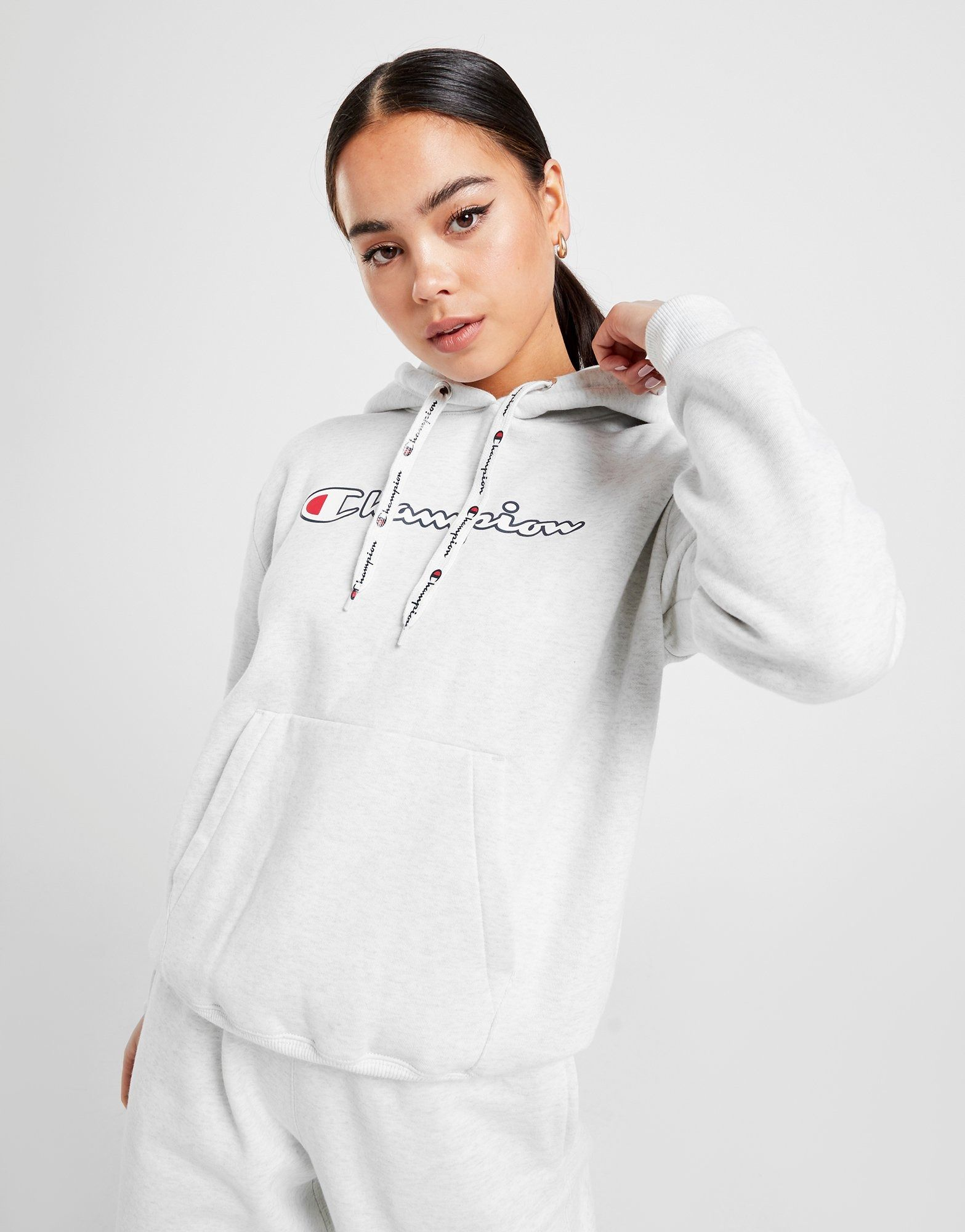 Buy Grey Champion Logo Boyfriend Hoodie JD Sports in
