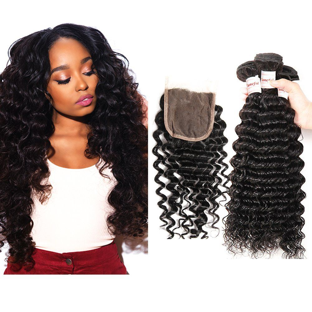 12 14 16 Plus 10inch Closure Brazilian Curly Deep Wave 3 Bundles With Closure Uprocessed Human Hair Weave Extensions Hair Extensions Best Brazilian Human Hair