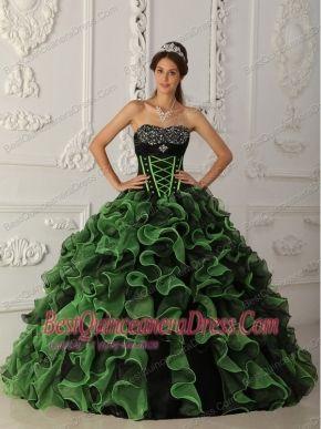 b57f517037b Green Ball Gown Sweetheart Floor-length Organza Beading Quinceanera Dress