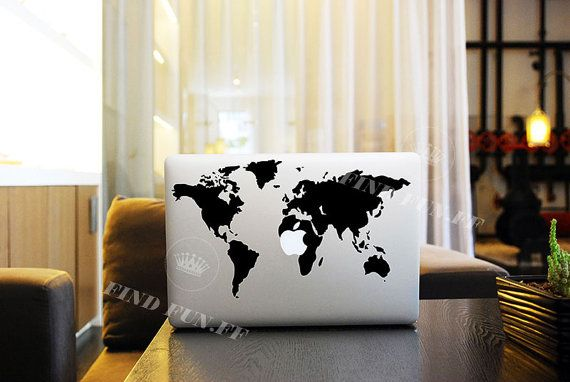 World map laptop decals laptop stickers laptop protector macbook world map decal macbook air sticker macbook air decal by findfun 1000 gumiabroncs Choice Image