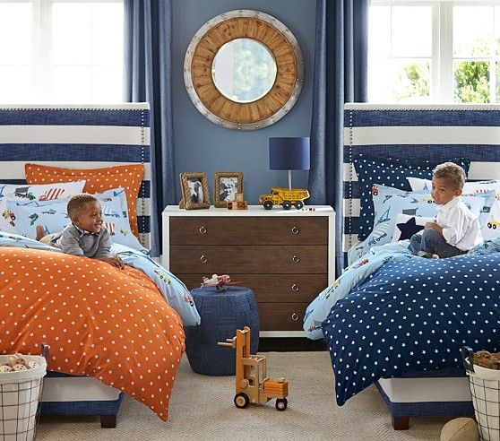 Kids Bedroom Headboard rowan upholstered bed & headboard | pottery barn kids | boys