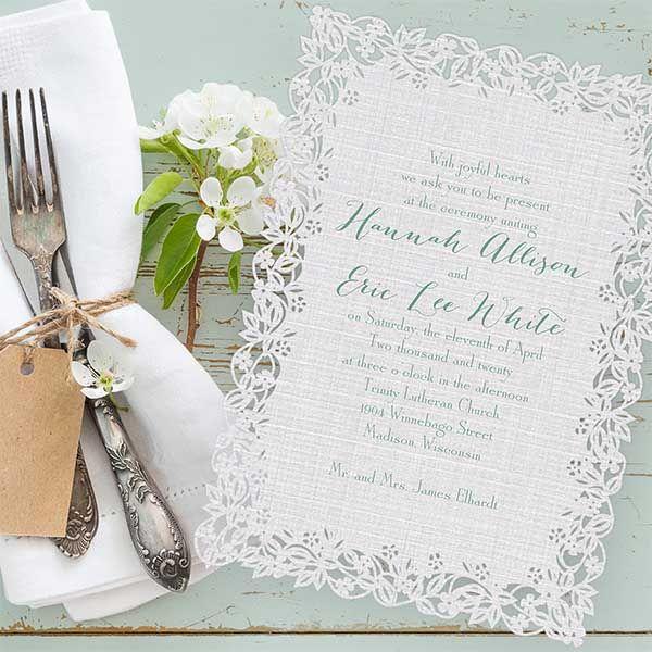 Carlson Craft Pocket Wedding Invitations: We're Loving: Laser-cut Linen