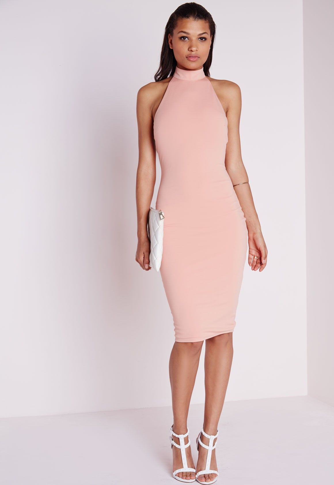 Missguided - High Neck Bodycon Dress Dusky Pink | Dresses ...