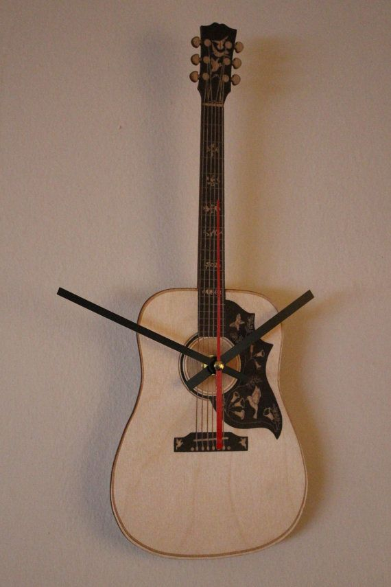 Hanging Guitar Clock Hummingbird Acoustic Guitar Guitar Clocks