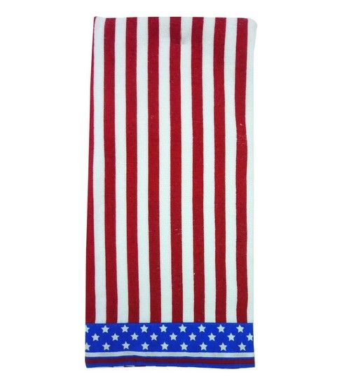Red White And Blue Striped Usa Bathroom Hand Towel Patriotic America 3 99