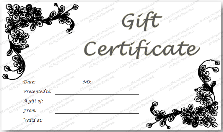 Black Glades Gift Certificate Template  Cleaning