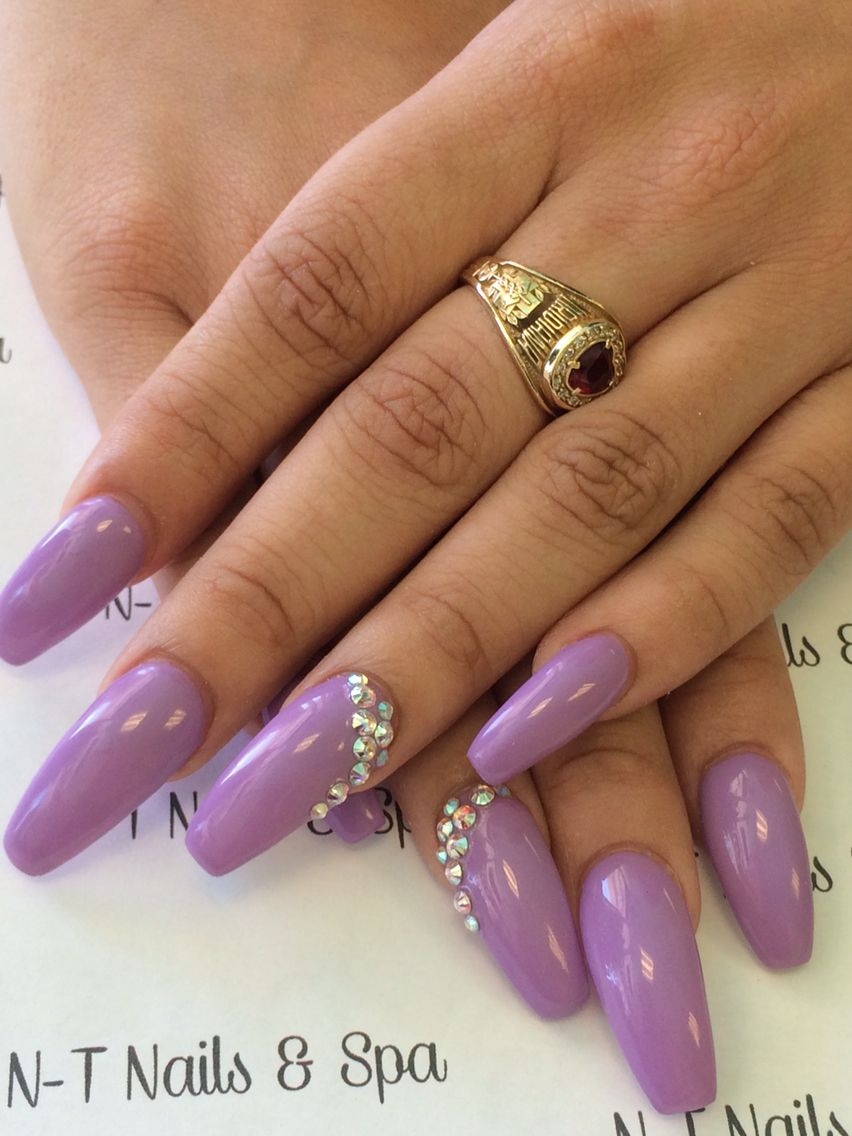Purple coffin nails w/ diamond. | My design | Pinterest | Coffin ...
