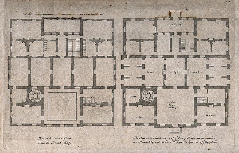 Queen S House By Inigo Jones Greenwich By H Hulsenbergh After C Campbell 1715 Free House Plans House Plans Custom Home Plans Queens house floor plan