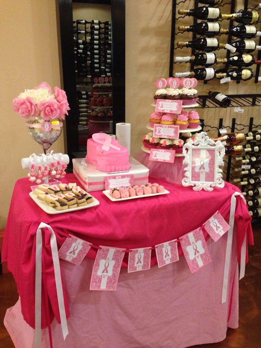 pink ribbon breast cancer dessert table breastcancer rh pinterest com