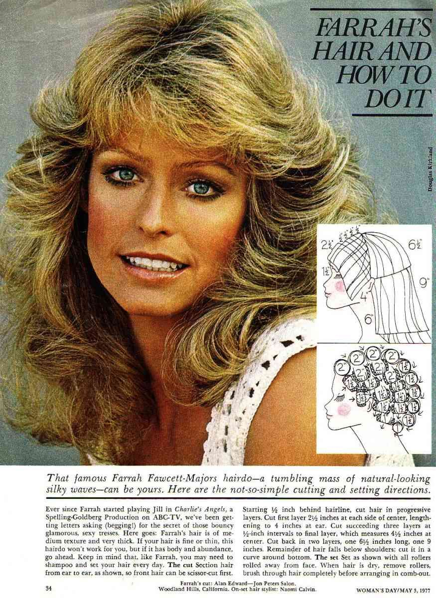 farrah fawcett haircut and styling instructions! woohoo