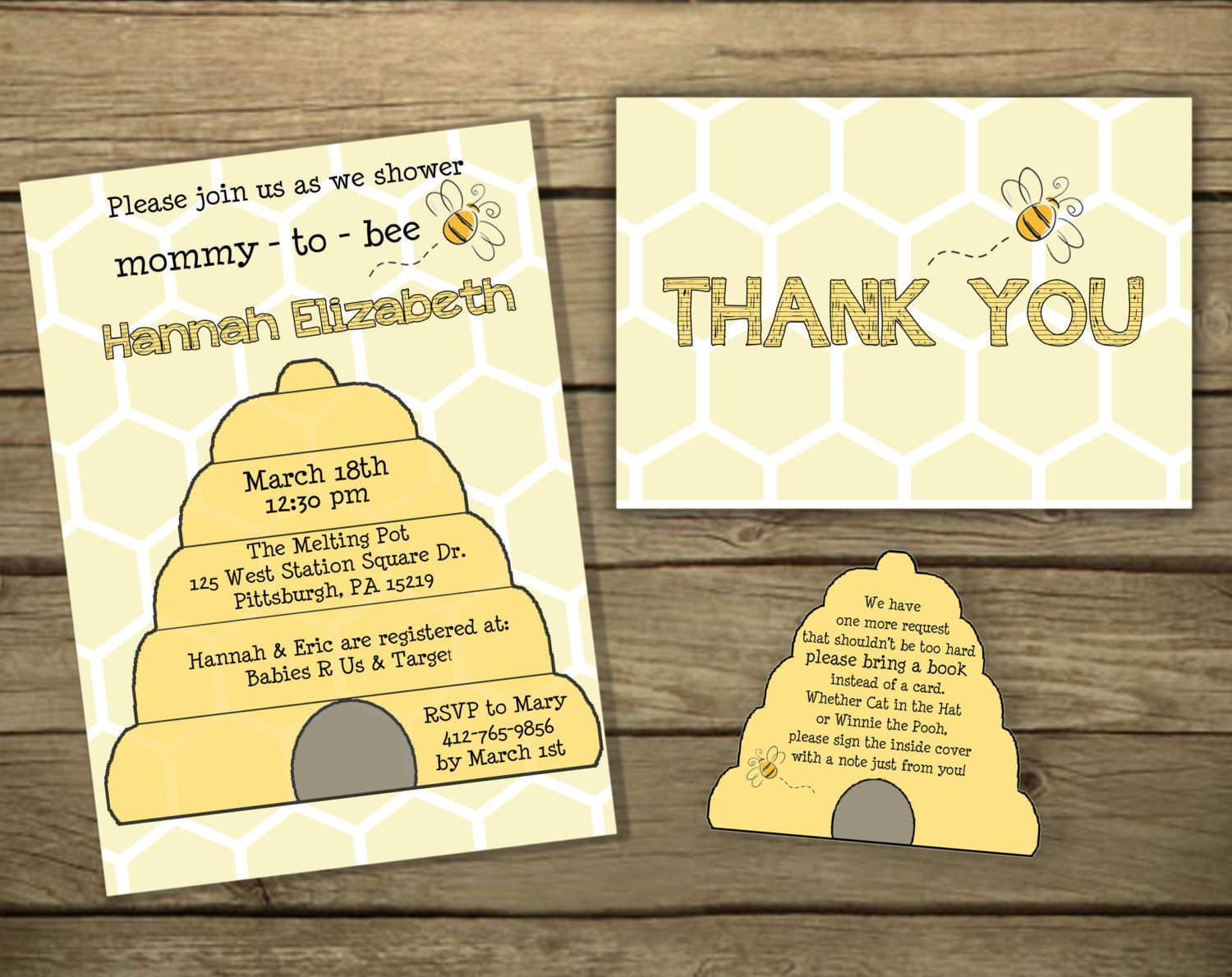 unique homemade baby shower invitation ideas%0A Baby Shower Invitation  Mommy to Bee invitation and book insert card  PRINTABLE