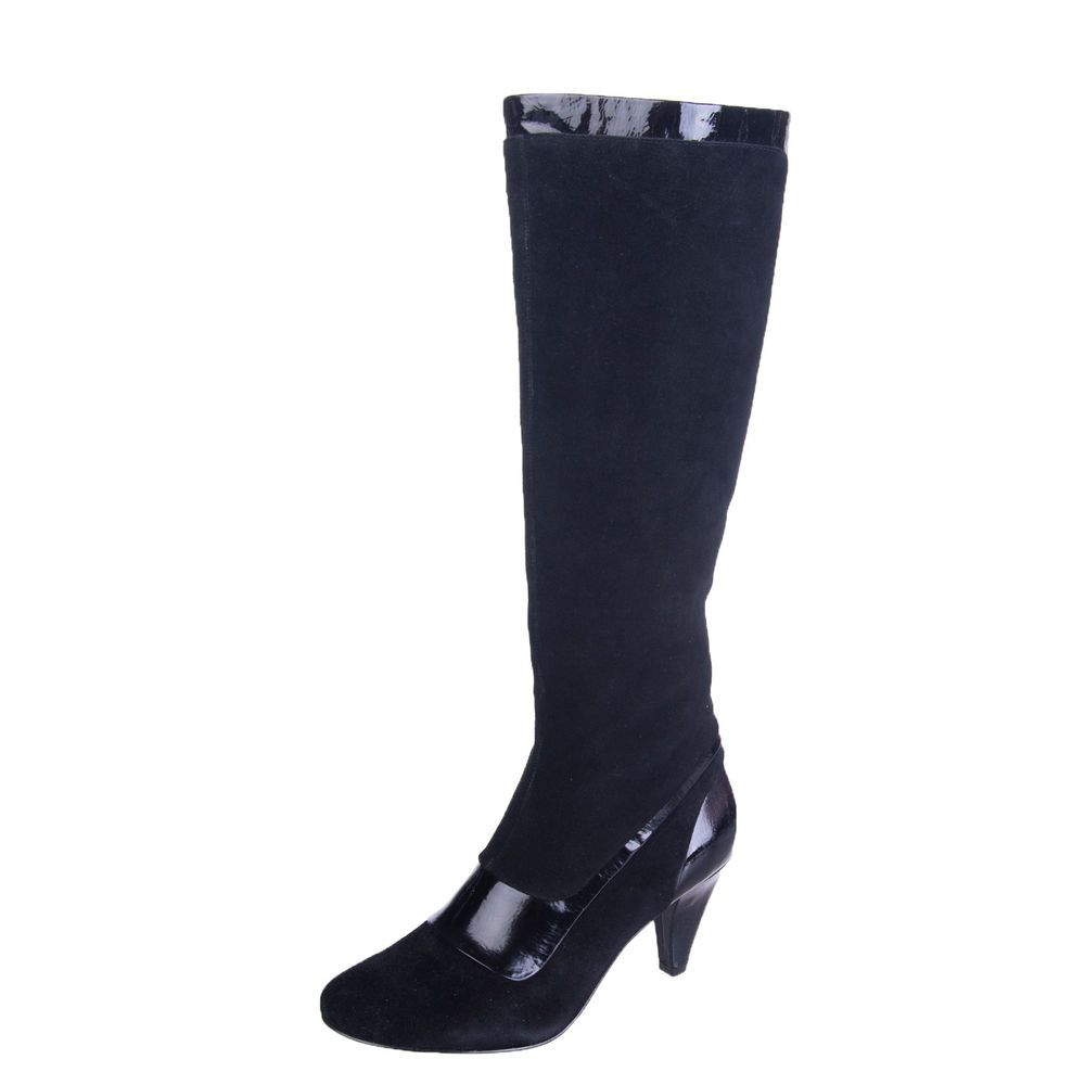 d8f8576580ce NINE WEST Suede Leather Knee High Boots Size 36.5 UK 3.5 Patent Trim RRP  209
