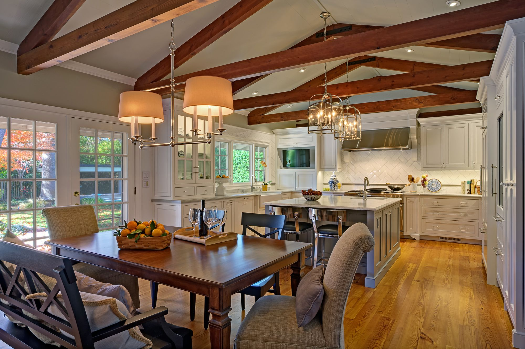 This completely remodeled kitchen and casual dining area replaced a small dark kitchen and separate eating area circa 1975. We were able to give the clients a light and bright …