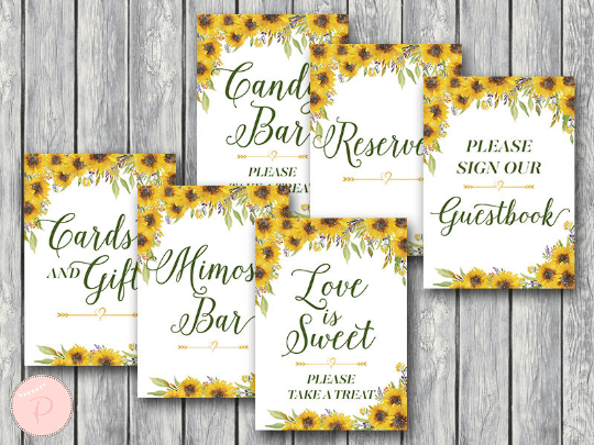 sunflower wedding table signs pack in 2019 my dream wedding rh pinterest com