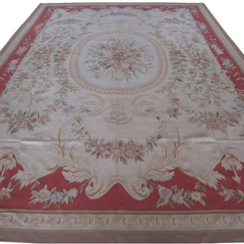 10 X 14 Hand Woven Wool French Aubusson Flat Weave Rug New Free