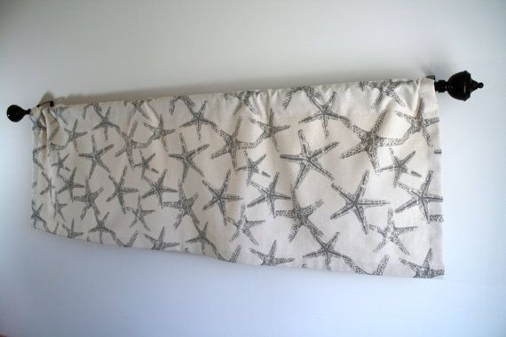 Lined Window valance, beach valance, starfish valance, coastal valance, grey beach valance, boy valance size 50 x 17 on Etsy, $34.00