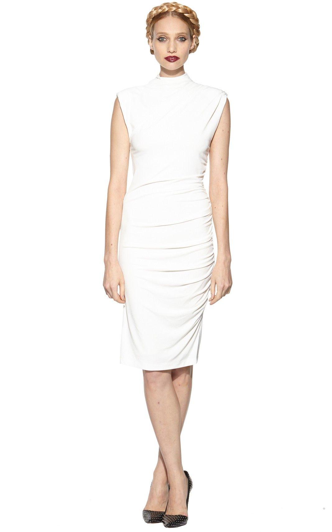 Alice Olivia Lynley Sleeveless Turtleneck Gathered Side Dress [ 1707 x 1067 Pixel ]