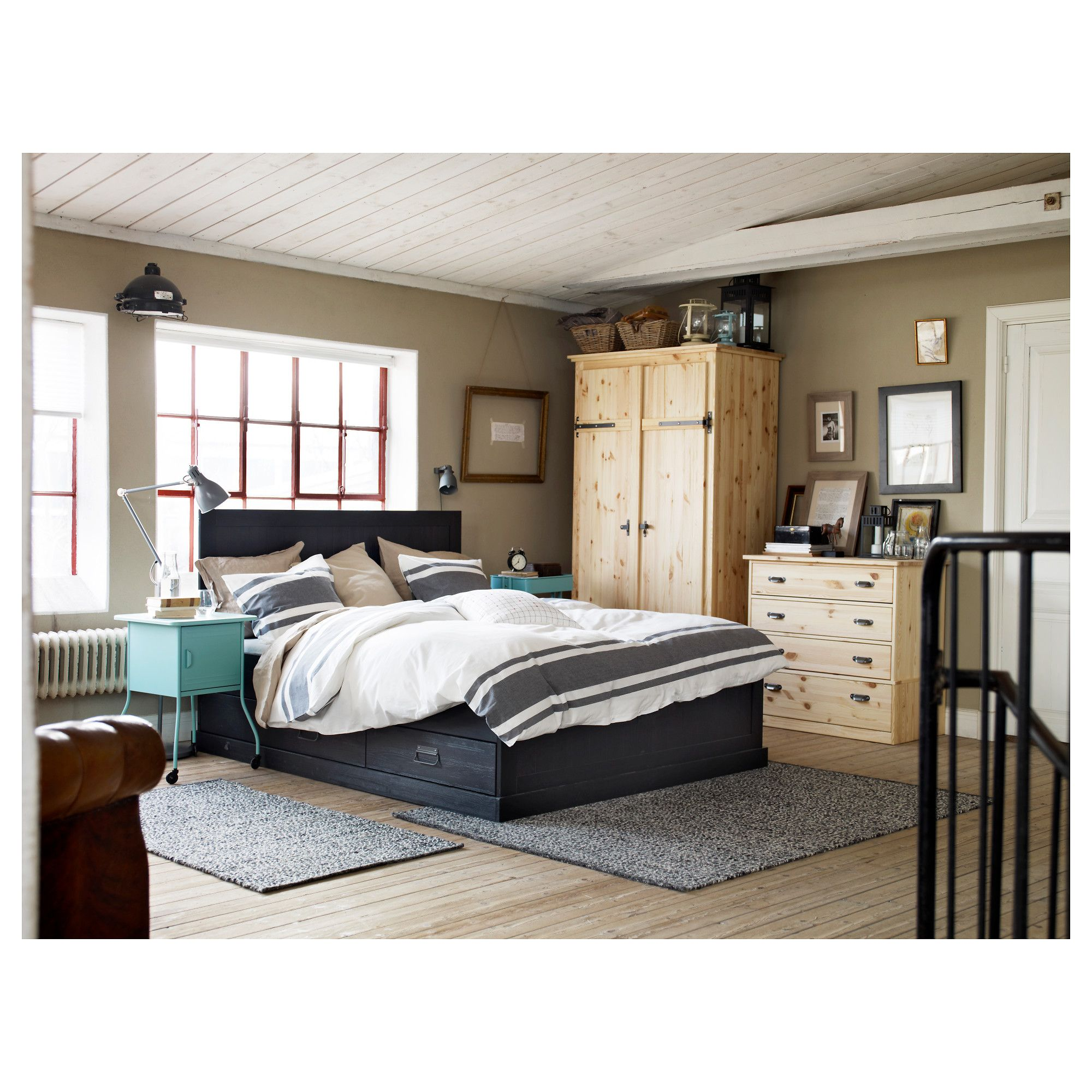 IKEA FJELL Bed frame with storage