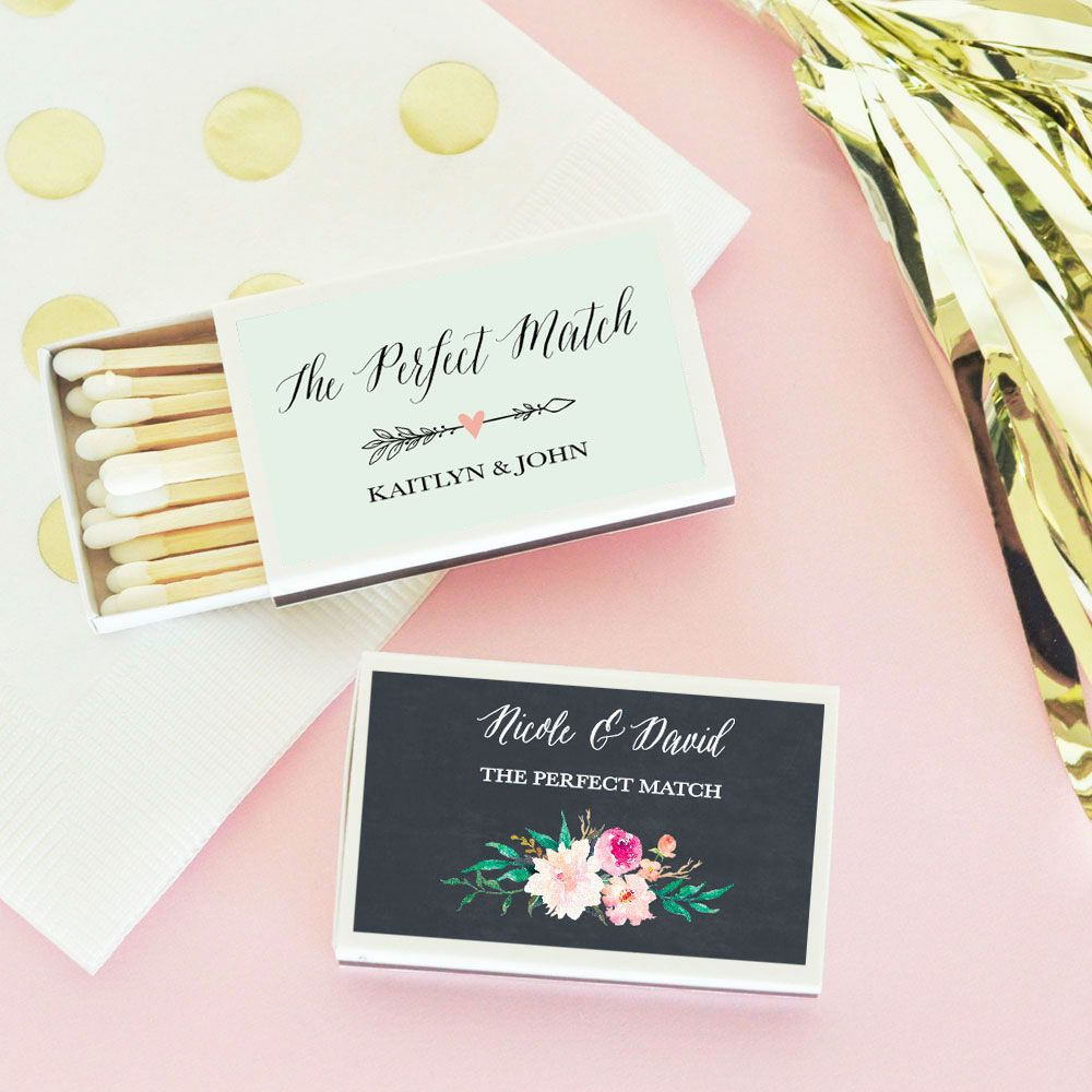 Floral Garden Wedding Matchboxes Personalized Set of 50